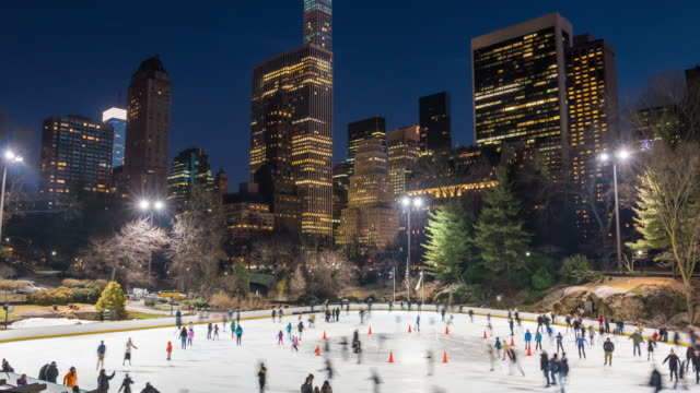 ice skating in central park - ice rink stock videos & royalty-free footage