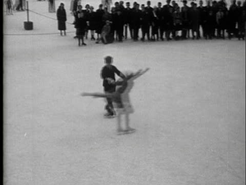 1936 - ice skating outdoors in vienna - ice rink stock videos & royalty-free footage
