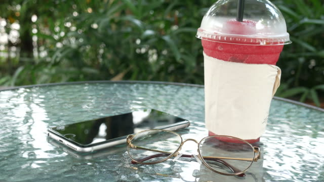 ice smoothie and smart phone - tomato juice stock videos and b-roll footage