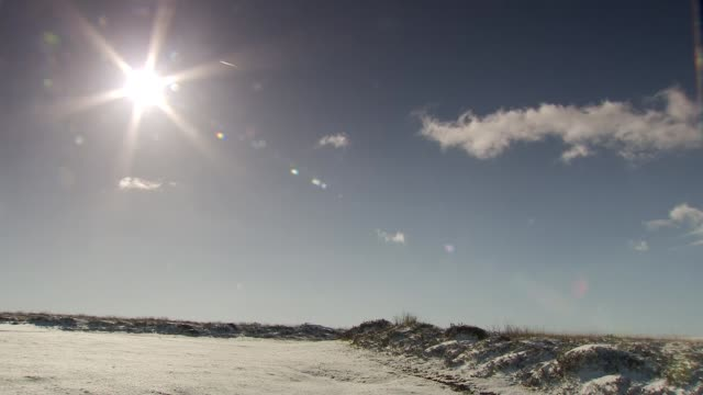 ice warning issued as further drop in temperature expected; england: exmoor national park: ext / snow on ground wide shot of snow-covered field and... - exmoor national park stock videos & royalty-free footage