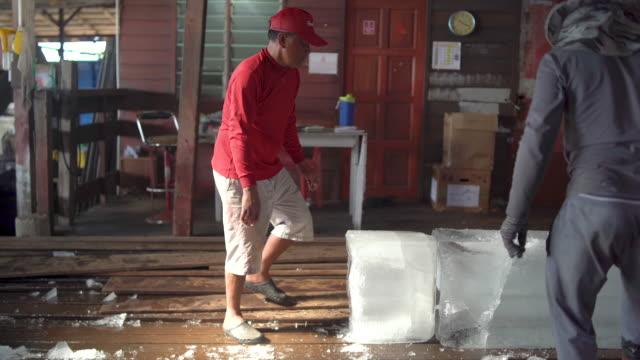 ice worker and blocks of ice - eiswürfel stock-videos und b-roll-filmmaterial