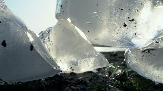 iceberg melting on the lagoon at sunset - antarctica melting stock videos & royalty-free footage