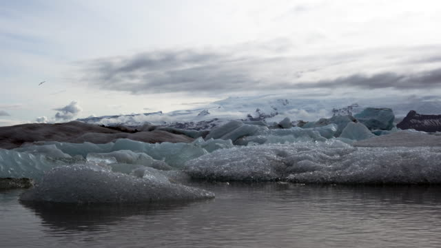 Icebergs in glacial bay in Iceland time lapse