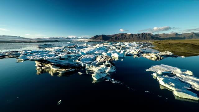 AERIAL: Icebergs in Iceland - Jokulsarlon Lagoon