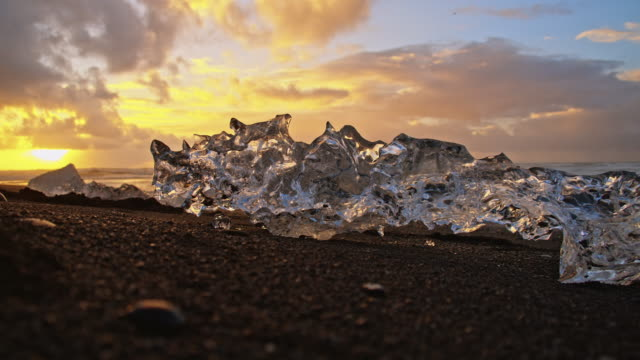 Icebergs on black Icelandic beach