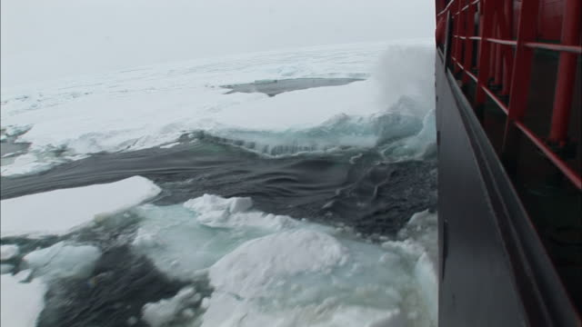 WS Ice-breaker moving through ice/ North Pole