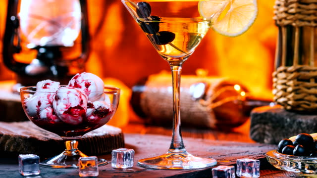 icecream and martini - brandy snifter stock videos & royalty-free footage