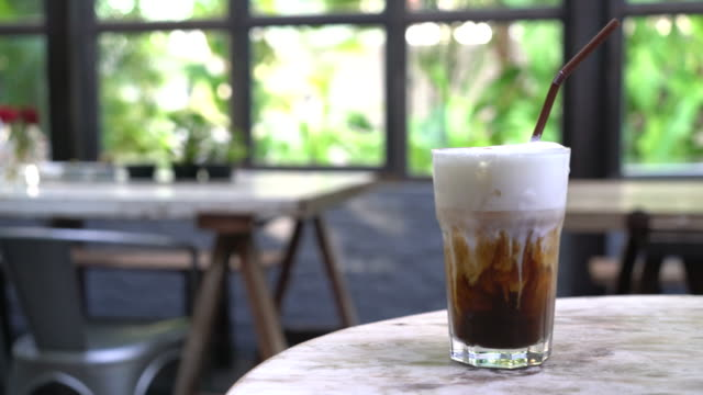 iced cappuccino in coffee shop