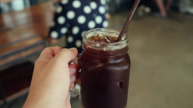 iced coffee, personal point of view - coffee break stock videos & royalty-free footage