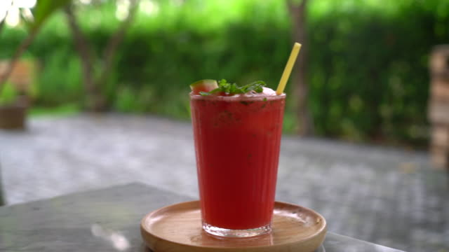 iced watermelon with mint - tropical drink stock videos and b-roll footage
