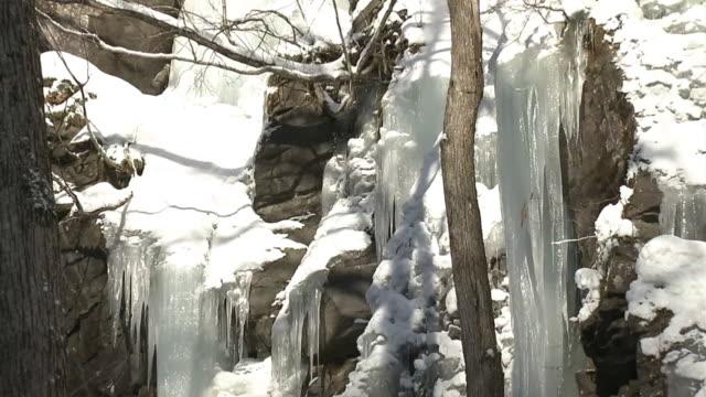 cu, icefall, aomori, japan - oirase river stock videos & royalty-free footage