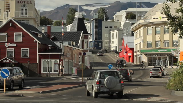 Iceland. Akureyri - The streets of a small town