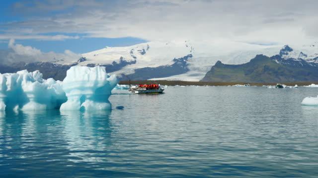 Iceland, an amphibious vehicle, the LARC-V, in Jökulsárlón glacial lake, south Iceland