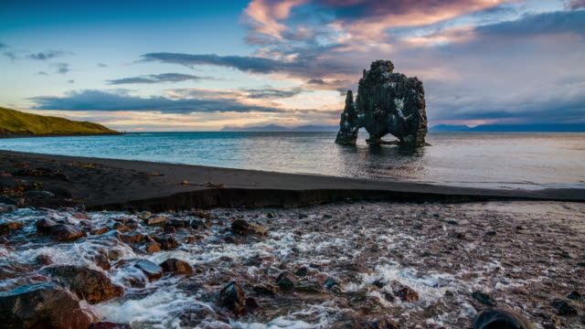 iceland coastline - hvitserkur - fantasy stock videos & royalty-free footage