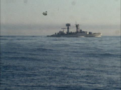 iceland cod war frigate tugs and trawlers at sea itn lib lv frigate at sea lv defence tug towards vlv frigate tug and tawlers at sea - 1973 stock videos & royalty-free footage
