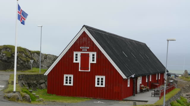 iceland djupivogur fishing village marina museum called langabud built in 1790 in eastern iceland - fishing village stock videos and b-roll footage