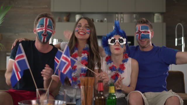 Iceland fans cheering