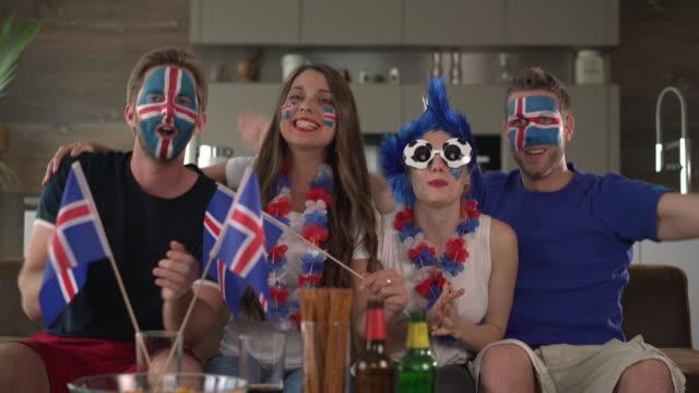 vídeos de stock, filmes e b-roll de iceland fans cheering - euro 2016