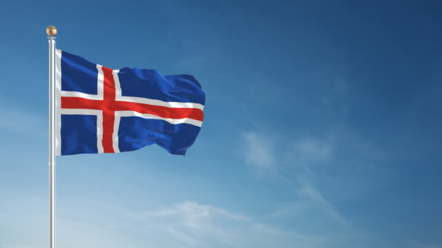 vlag van ijsland stockvideo's en b-roll footage - getty images