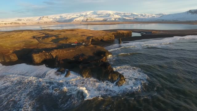 iceland from the sky : south iceland, vik, dyrholaey, reynisfajara - dyrholaey stock videos & royalty-free footage