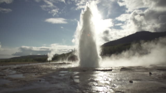 iceland geyser hot spring geysir - geyser stock videos and b-roll footage