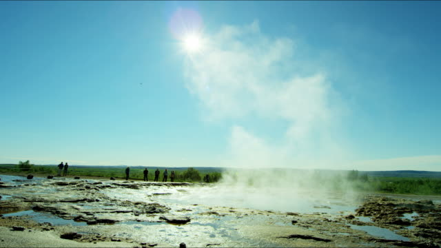 iceland geyser strokkur golden circle volcanic spring tourism - geyser stock videos & royalty-free footage