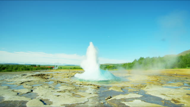 iceland geyser strokkur golden circle volcanic spring travel - geyser stock videos & royalty-free footage