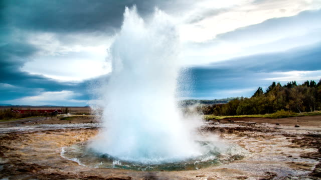 slow motion iceland geyser strokkur - erupting stock videos & royalty-free footage