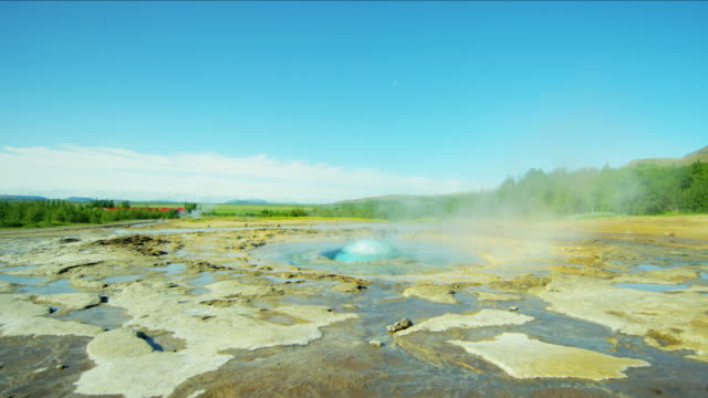 iceland geysir strokkur hot springs golden circle travel - sulphur stock videos & royalty-free footage