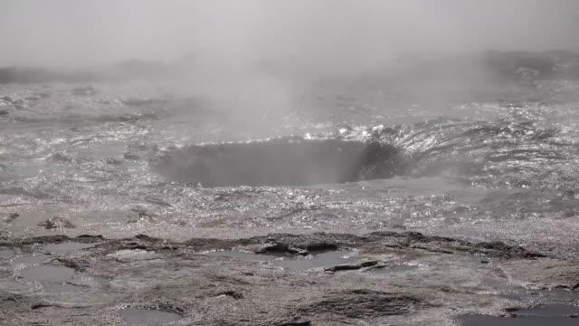 Iceland Haukadalur Strokkur geyser two eruptions