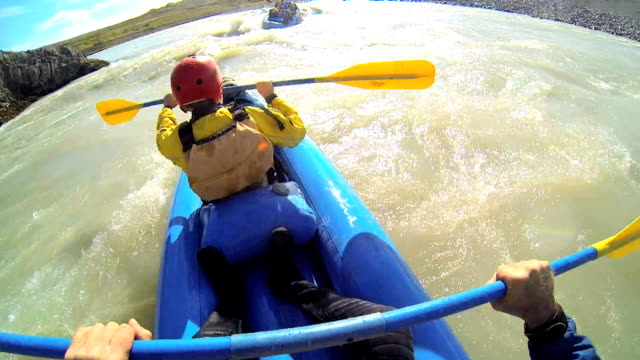 iceland kayaking canoe river twin people kayak adventure paddle - rapid stock videos & royalty-free footage