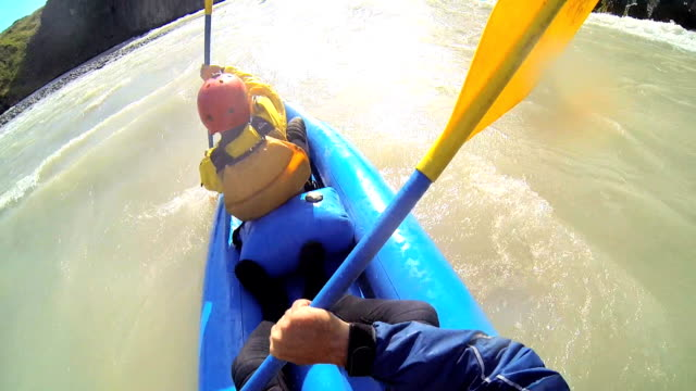 iceland kayaking canoe river twin people kayak adventure paddle - whitewater rafting stock videos & royalty-free footage