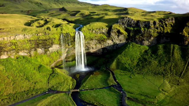 Iceland Landscape with Waterfall - Aerial