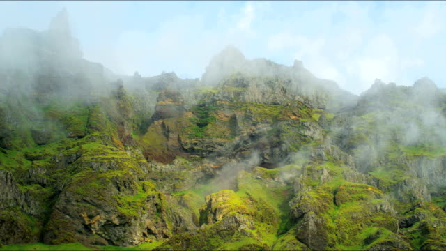 iceland mountain mist eco tourism rock cliffs travel - eco tourism video stock e b–roll