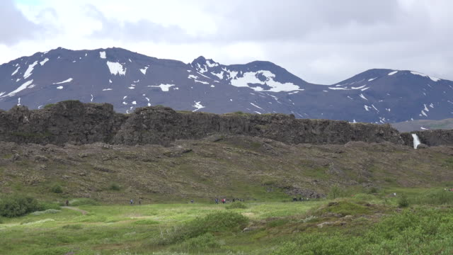 iceland pingvellir fault scarp along plate boundary with waterfall - mid distance stock videos & royalty-free footage