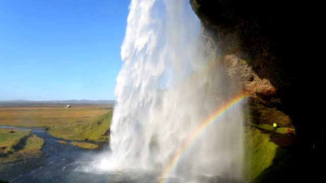 iceland seljalandsfoss waterfall people rainbow - seljalandsfoss waterfall stock videos and b-roll footage
