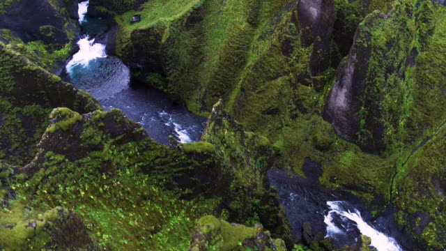 iceland stream from the air - canyon stock videos & royalty-free footage