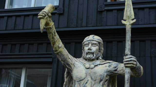 iceland viking village old historical museum in hafnarfjordur with viking statue outrside reykjavik - viking stock videos and b-roll footage