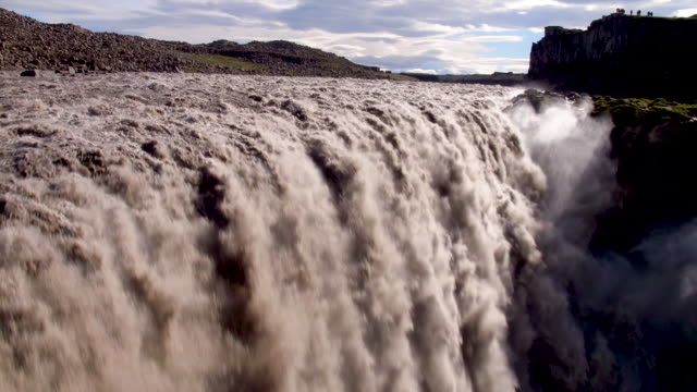 iceland waterfall from air - island stock-videos und b-roll-filmmaterial