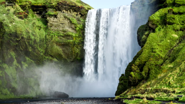iceland waterfall skogafoss - waterfall stock videos & royalty-free footage