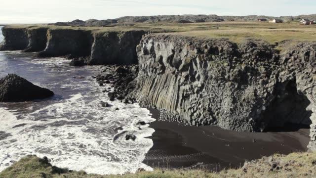 Icelandic basalt cliffs Faxa bay waves black beach Snaefellsnes Peninsula