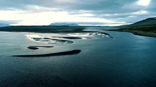 icelandic coast during low tide. aerial view - low tide stock videos & royalty-free footage