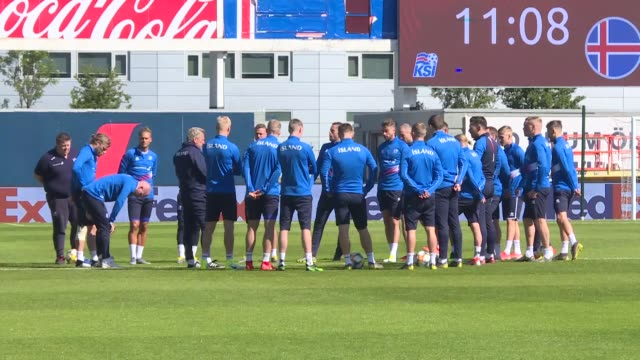 Icelandic national football team players attend a training session led by head coach Erik Hamren at Laugardalsvollur Stadium ahead of the UEFA EURO...