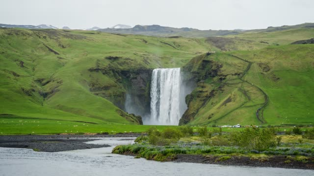 iceland's waterfall skogafoss - mgost stock videos and b-roll footage