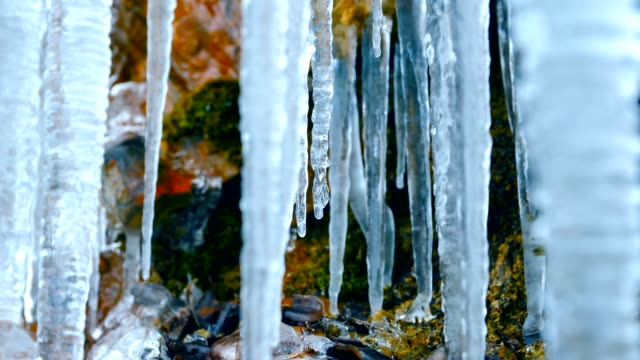 icicle in winter - icefall stock videos and b-roll footage