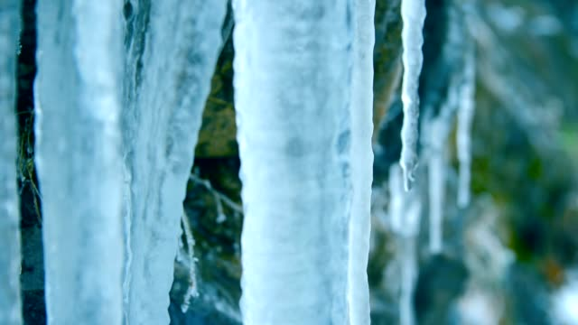 icicle on the rocks - icefall stock videos and b-roll footage