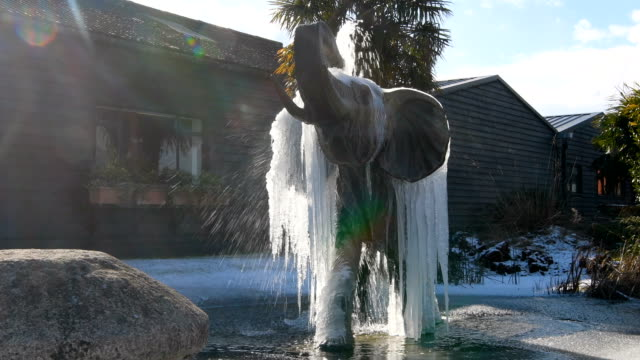 Icicles hang from a frozen elephant fountain on February 27 2018 in Colchester United Kingdom Freezing weather conditions dubbed the 'Beast from the...