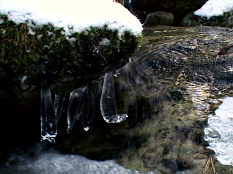 vidéos et rushes de icicles hanging over creek - bercement