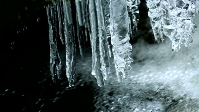 icicles hanging over pure creek pan - panning stock videos & royalty-free footage