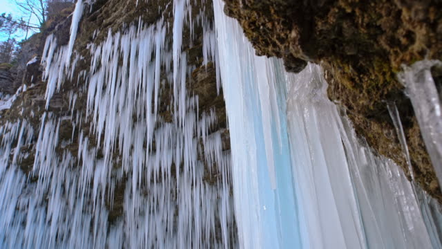 ds icicles of the waterfall - julian alps stock videos and b-roll footage